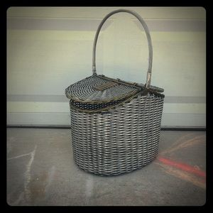 Vintage Woven Aluminum and Brass Basket